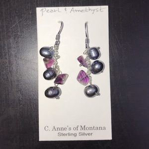 Pearl & Amethyst Dangly Earrings